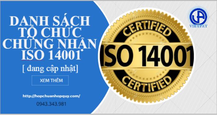 DANH SACH TO CHUC CHUNG NHAN ISO 14001